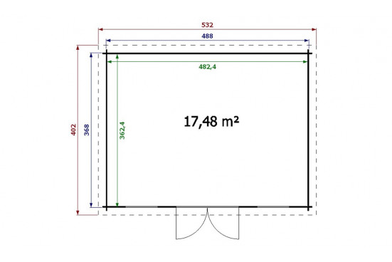 Abri de jardin MILLAU 28 mm - 17,4m² intérieur