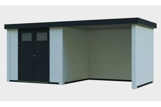 chalet de jardin métal Eléganto 3024 Lounge dim 582x238 cm 1 porte double