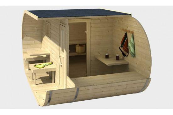 Sauna Oval avec terrasse et vestibule bois massif 42 mm