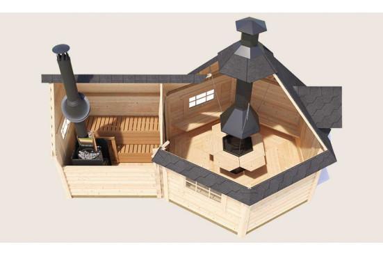 abri bois VALTOLA madriers 44 mm - 9 + 4 m²