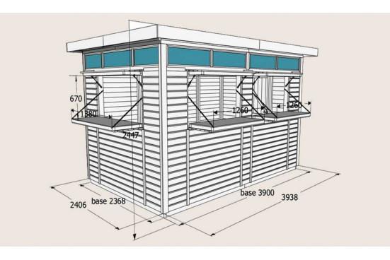 Kiosque en bois commercial Goteborg 3.94 x 2.41m panneaux bois