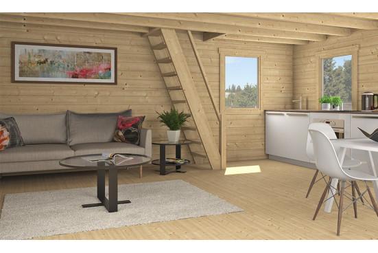 Chalet Mezzanine Bruges 20 madriers 44mm - 20 + 20m² intérieur