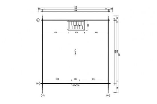 Chalet Mezzanine Bruges 25 madriers 44mm - 25 + 25m² intérieur