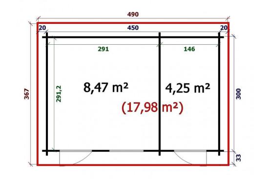 Cabanes de jardins en bois BORA 44 mm