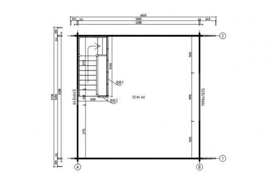 Chalet mezzanine Perpignan 25 - madriers 44mm - 25 + 25m² intérieur