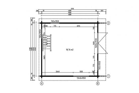 Chalet MEZZANINE ANVERS 20 - madriers 70mm contrecollés - 18.76m² int + étage