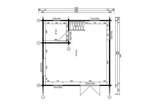 Chalet Mezzanine ANVERS 25 SDB madriers 70mm contrecollés - 25 + 25m² intérieur