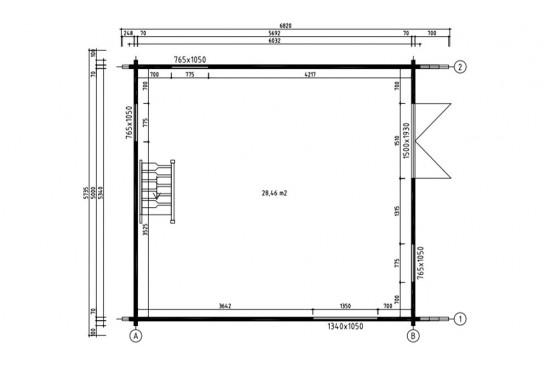 Chalet Mezzanine ANVERS 28 madriers contrecollés 70mm - 28 + 28 m² intérieur