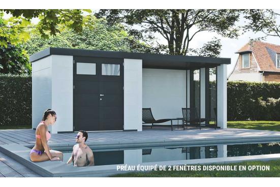 abri exterieur Eléganto 3024 Lounge dim 582x238 cm 1 porte double