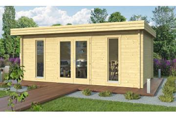 Abri de jardin GRAND CANNES madriers contrecollés 70mm - 19,1m² intérieur