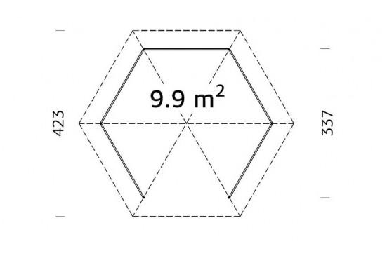Tonnelle Aude 10 - 9.9m² intérieur - poteaux 12x12