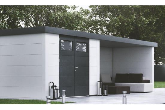Abri métal Eléganto 3024 Lounge dim 582x238 cm 1 porte double