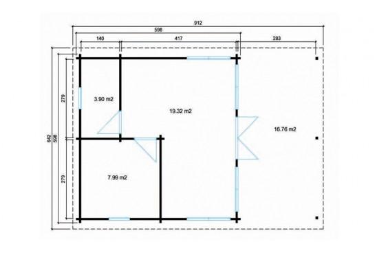 Abri de jardin Hastings 70mm cc - 31.20m² intérieur + 16.76m²