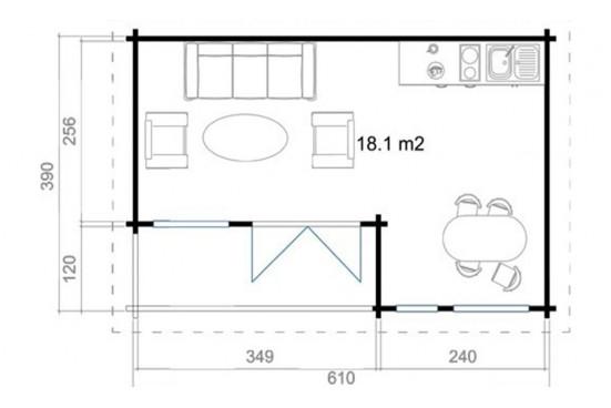 Abri de jardin ORKNEY 6 70mm CC - 18,1m² intérieur