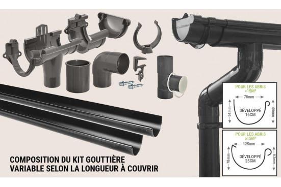 Kit Gouttière PVC toit 1 pente 800cm maxi