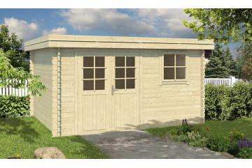 Abri de jardin en bois Charlieu 34mm - 10,36m² intérieur - double pente