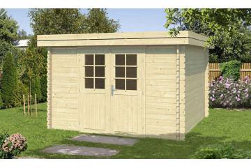 Abri de jardin en bois Amiens 34mm - 8.60m² intérieur - toit plat