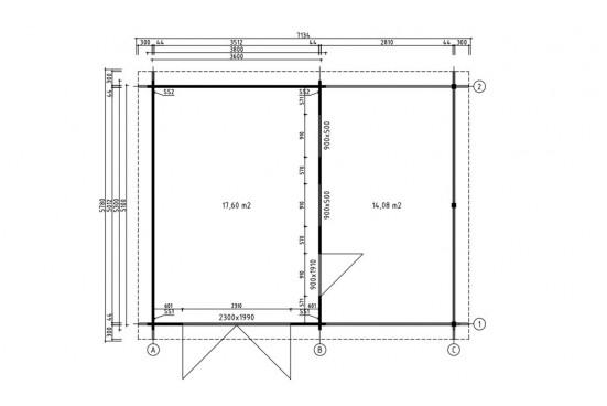 Garage voiture bois DRÔME 44mm - 17,6m² intérieur +14m²