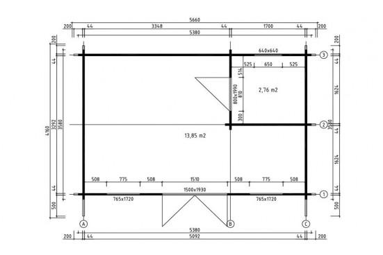 chalets CANNES 44mm WC - 16,8m² intérieur