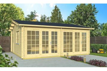 Abri de jardin Frejus Portes vitrées 44mm - 28,4m² intérieur