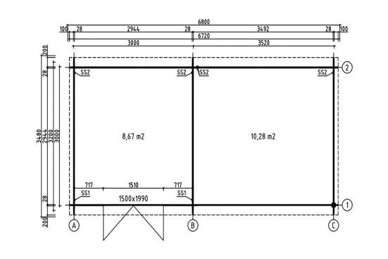 Abri de jardin Pluméria 28mm - 8.67m² intérieur + préau 10.28m²