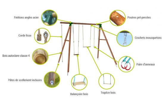 Portique pour enfants en bois traité autoclave Galdar - 4 agrès