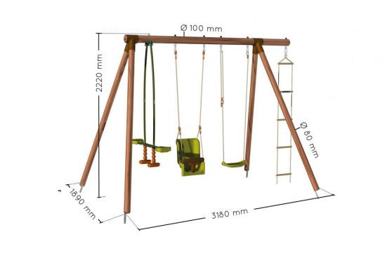 Portique pour enfants en bois traité autoclave Suzon - 4 agrès