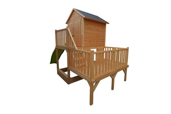 Cabane en bois pour enfants multi-plateforme Jania - 1,35 m² intérieur
