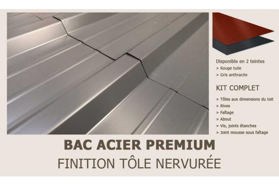KIT Bac acier plat rouge ou gris anthracite pour Dorset