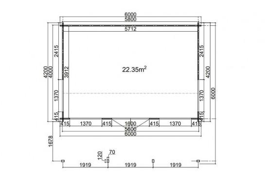 Abri de jardin EDMON- 44 mm - 22.35m² intérieur