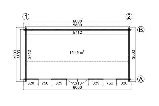 Abri de jardin MISSISSIPPI 2- 44 mm - 15.49m² intérieur