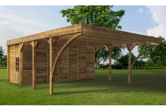 Carport couvert double AYMAR avec remise en bois traité marron