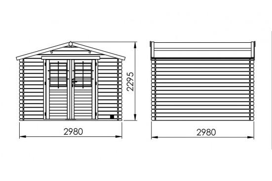 Abri de jardin Volta 28 mm - 7.50m² intérieur