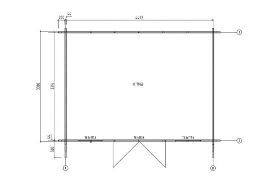 Abri de jardin BRET 1 - 44mm - 14.8m² intérieur