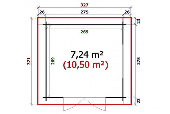 Abri de jardin monopente USSEL madriers 28mm - 7,2m² intérieur