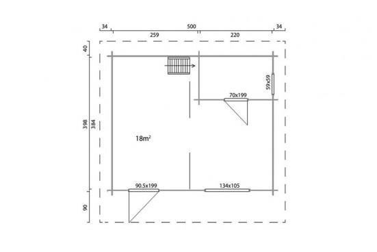 Abri de jardin Lunel madriers contrecollés 70mm - 18,4 + 9,7m² intérieur