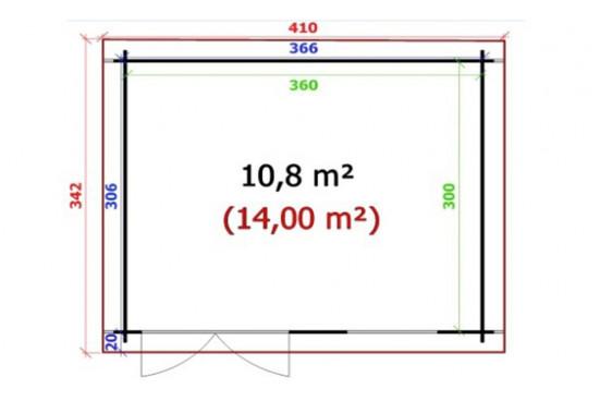 Abri de jardin AVIGNON 34 mm - 10,8m² intérieur