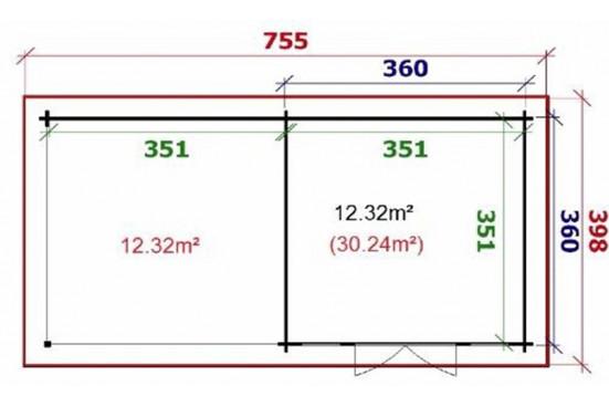 cabanes de jardins en bois ORLEANS 44 mm - 12,3m² intérieur + 12,3m²