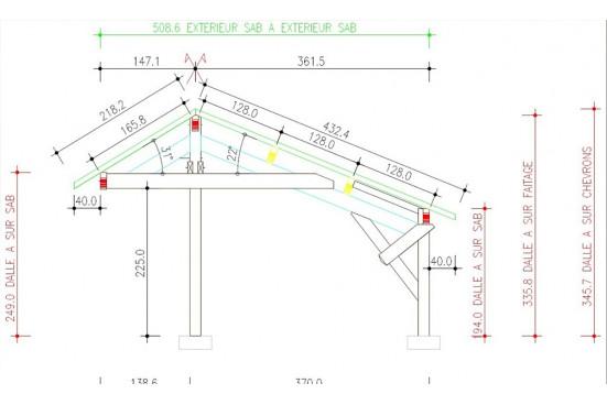 Carport Avranche asymétrique - 38,1m² couvert
