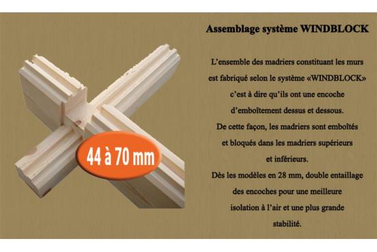 cabanes jardin bois ORLEANS 44 mm - 12,3m² intérieur + 12,3m²
