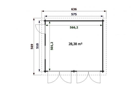 Garage en bois DAX 44mm