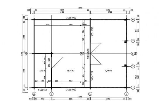 Abri de jardin Jersey 44mm - 18,1m² intérieur + 12m²