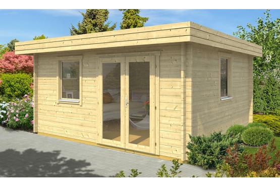 abri de jardin en bois toit plat LACANAU 44 mm - 15,3m² intérieur
