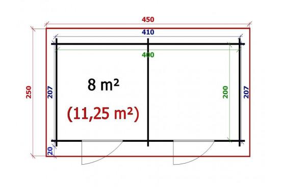 chalets en bois OUVRIER 2 34 mm-8m² intérieur - double pente - Excellent rapport qualité / prix